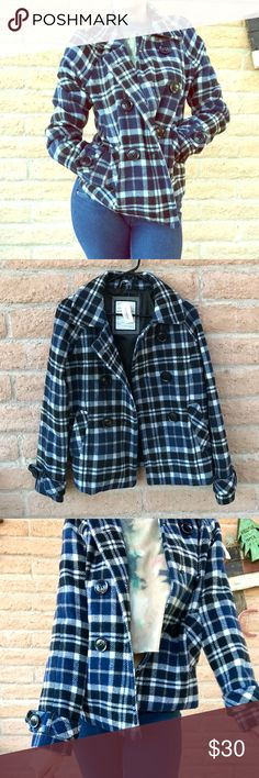 NWT Aeropostale Coat New with tags super warm super cozy blue and black Aeropostale Coat size medium would also look good on a size small. Perfect condition. Aeropostale Jackets & Coats Pea Coats