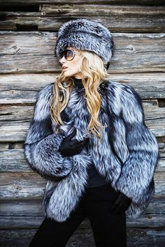 Silver fox fur jacket and hat.  #silverfox #furonline #furfashion
