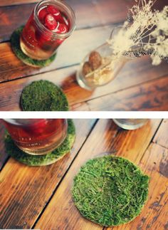 Bring a little lawn party indoors with these faux-grass coasters! #DIY