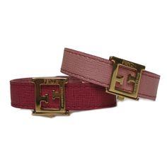 1ff369fe5d6e Fendi FF 'Crayons' Reversible Pink Rose Saffiano Leather Bracelet Fendi  8AG408 #Fendi #