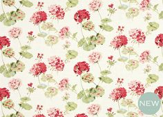 #LauraAshleySS14 Geranuim Pale Cranberry Red Linen Cotton Mix Curtain Fabric | Laura Ashley. Love this fresh floral fabric for a pretty English yet modern feel in the garden. Enchanting!