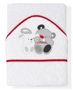 Osuška froté Interbaby 100x100cm - Priatelia (biela-červený lem)