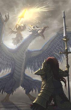 Dark Souls King of the Storm vs Dragon Slayer Ornstein Sif Dark Souls, Arte Dark Souls, Medieval Fantasy, Dark Fantasy, Fantasy Art, Legolas, Ornstein Dark Souls, Soul Saga, Praise The Sun