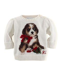 Girls\' Intarsia-Knit Holiday-Dog Sweater, 3-24 Months  by Ralph Lauren Childrenswear at Neiman Marcus.