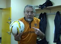 A larger pic of Robert Plant in the Wolverhampton locker room May 5, 2014 where he was given 2 penalty kicks for charity.