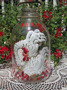 Vintage Glass Milk Bottle Hand Painted HP Rooster Chicken Hen $5.00 Shipping | eBay