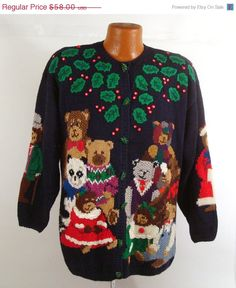ugly christmas sweater vintage cardigan by purevintageclothing - Vintage Christmas Sweater