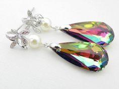 Green Swarovski Bridal Earrings Glass Ivory Pearl by EstyloJewelry