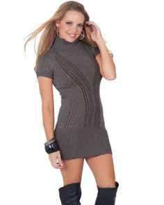 Short Sleeve Loose Knit Fitted Turtleneck Sweater Mini Dress Winter Top S M L - List price: $66.99 Price: $36.99