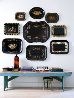Vignette with tole tray wall arrangement anchored with bench Home Decor Accessories, Decorative Accessories, Vintage Industrial Lighting, Painted Trays, Hand Painted, Home And Deco, Displaying Collections, Decoration, Wall Decor