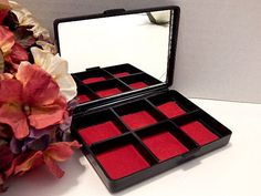 Jewelry Box VTG 1960s Earring Ring Compact Storage Black Asian Floral w/ Mirror #Unbranded
