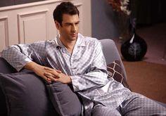 Midnight mens silk pajamas s838 gray