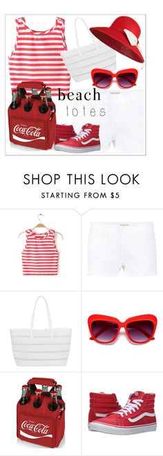 """""""Beach tote"""" by chanlee-luv ❤ liked on Polyvore featuring Frame Denim, BUCO, Picnic Time and Vans"""