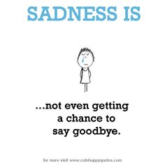 Sadness is, not even getting a chance to say goodbye. - Cute Happy Quotes