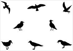 seagull silhouette bird - Neck Tattoo - upper Left