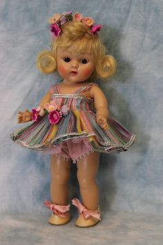 1953 Vogue Ginny Doll, Strung painted lash in Gadabout Ballet #45 Ex. Complete