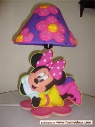 Resultado de imagen para manualidades para vender en foami Minnie Mouse Room Decor, Mickey Mouse, Woodworking Projects Diy, Diy Projects, Kids Lamps, Mickey And Friends, Foam Crafts, Table Lamp, Handmade