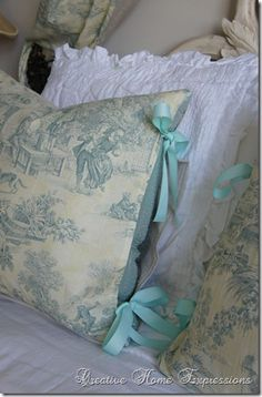 lovely blue and white pillows