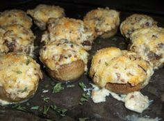 Cheesy Bacon Stuffed Mushrooms.. Pretty much anything with these three ingredients has me sold!
