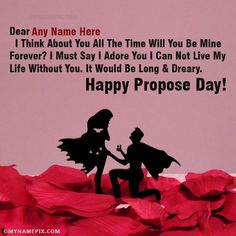 A new and romantic way to wish Propose Day to the loved one. Get Happy Propose Day images with name of your love. Make feel them extra special. Happy Propose Day Image, Propose Day Images, Vegetable Packaging, Life Without You, I Adore You, Get Happy, I Think Of You, Day Wishes, Spread Love