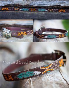 Best beaded feather with Aztec & arrows. Customized Beaded Belts by MustardSeedBeadwork on Etsy Bead Jewellery, Seed Bead Jewelry, Beaded Jewelry, Beaded Hat Bands, Beaded Belts, Seed Bead Patterns, Beading Patterns, Kilt Pattern, Motifs Perler