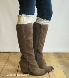 The Milly Lace  Cream Cableknit Boot Socks w/ door GraceandLaceCo, $34.00