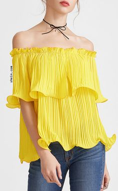 0b5c458aef3 MakeMeChic Women s Off The Shoulder Pleated Sexy Summer Blouse Top  Polyester Off shoulder