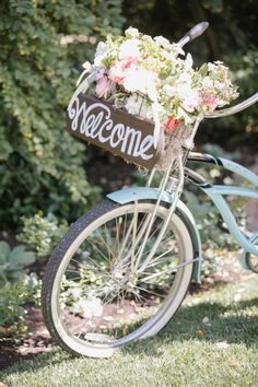 Adorable bike decor! http://www.stylemepretty.com/little-black-book-blog/2014/10/30/charming-private-estate-wedding-in-sonoma/ | Photography: Allyson Wiley - http://www.allysonwiley.com/
