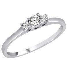14K White Gold 3 Three Stone Round Brilliant Diamond Ring (1/4 cttw) - Size 8 --- http://bizz.mx/16zd