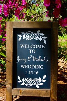 Rustic Chalkboard Sign - ROSES - Stands Alone Chalkboard Easel - Welcome To Our Wedding - Customize by ShellBellesShoppe on Etsy https://www.etsy.com/listing/290381497/rustic-chalkboard-sign-roses-stands