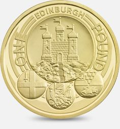 A depiction of the official badges of the capital cities of the United Kingdom, with the badge of Edinburgh being the principal focus