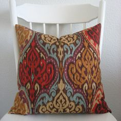 Lunar Sky Sunset colorful ikat  red turquoise by chicdecorpillows