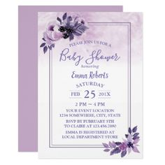 Elegant Watercolor Purple Floral Baby Shower Card - baby gifts child new born gift idea diy cyo special unique design