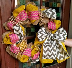 Spring Burlap and Chevron Wreath