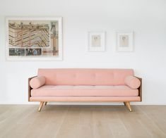 Exposed wood frame upholstered series by Kalon Studios that offers 3 basic configurations (chaise, sectional and sofa) which are infinitely modifiable. With no pre-set configuration in mind, the design offers you the ability to configure and re-configure the piece as desired and as your living spaces change. Made in the USA