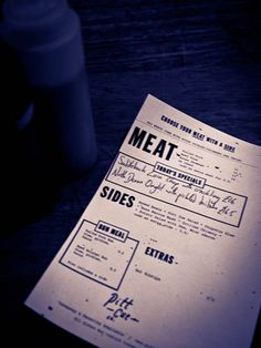 Pitt Cue Co. photocopies their menus on a fresh new color each day