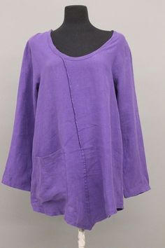 BODIL COLLECTION FASHION LINEN ASYM PULLOVER POCKET BLOUSES SHIRT PURPLE NEW Md #Bodil #Blouse #Casual