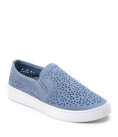 Carly Twin Gore Perforated Casual Leather and Suede Slip-Ons eEbRY