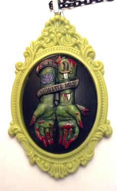 NO REGRETS Zombie Hand and Tattoo Cameo necklace Je by ChewsBrains, $30.00