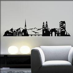 Wandtattoo Skyline Zürich   Wandtattoos Skyline, Paper Cutting, Designer, Tattoo Ideas, Home Decor, Sitting Rooms, Decoration Home, Room Decor, Interior Decorating