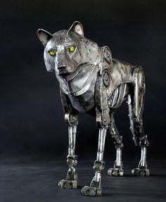 Beautiful steampunk wolf
