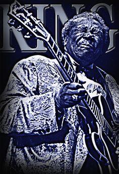 B.B King Art print, original artwork, Blues Legend, Guitar God.