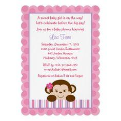 Girl Monkey Baby Shower Invitations
