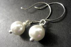 New to Gilliauna on Etsy: White Pearl Earrings. Custom Color Pearl Earrings. Bridal Earrings. Bridesmaid Earrings. Handmade Jewelry. (16.00 USD)