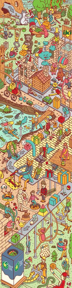 """so many details! (via Behance)Illustration for """"IKI"""" Christmas miracle website. 4 000 000 pixels ilustration. Each pixel equals one cent which will be donated for homeless children."""