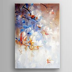lienzos pintados para la pintura al óleo flor blanca de impresión de la mano con la estirada enmarcado listo para colgar 2017 - $1606.58