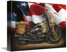 """+WLA+Harley+Davidson""+by+Russell+McKeand,+Phoenix+AZ+//+This+current+print+is+the+motorcycle+that+was+used+during+World+War+II+by+the+United+States+military.+They+also+made+a+variant+for+the+allies.++It+was+based+on+the+civilian+model+WL.+It+had+a+45+cubic+inch+engine.+Production+stopped+after+the+war,+but+would+be+brought+back+f...+//+Imagekind.com+--+Buy+stunning+fine+art+prints,+framed+prints+and+canvas+prints+directly+from+independent+working+artists+and+photographers."