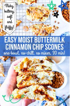 These easy moist cinnamon chip scones are soft, tender, and flaky with a crispy golden shell! They're buttery and vanilla-scented with creamy bursts of cinnamon chips, and best of all, they're one-bowl, no-chill, and no mixer needed!