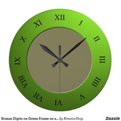 Roman Digits on Green Frame on any Color Wall Clock