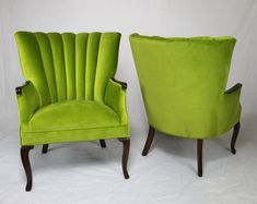 Sold Pair Of Vintage Antique Channel Back Chairs In Le Green Velvet With Medium Brown Wood Lime Gr Bright